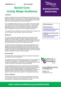thumbnail of Bargaining Briefing 114 – Living Wage guidance April 2020