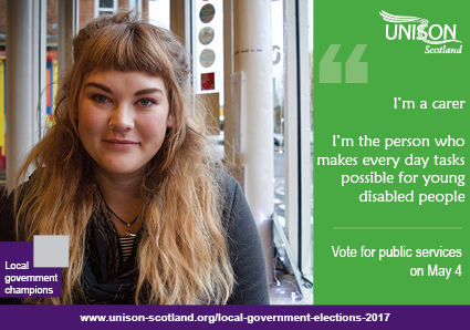 I'm a carer. I'm the person who makes every day tasks possible for young disabled people. Vote for public services on May 4