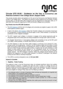 thumbnail of Circular STS 0320 Guidance on the Use of Coronavirus Job Retention Scheme in the College Sector Final