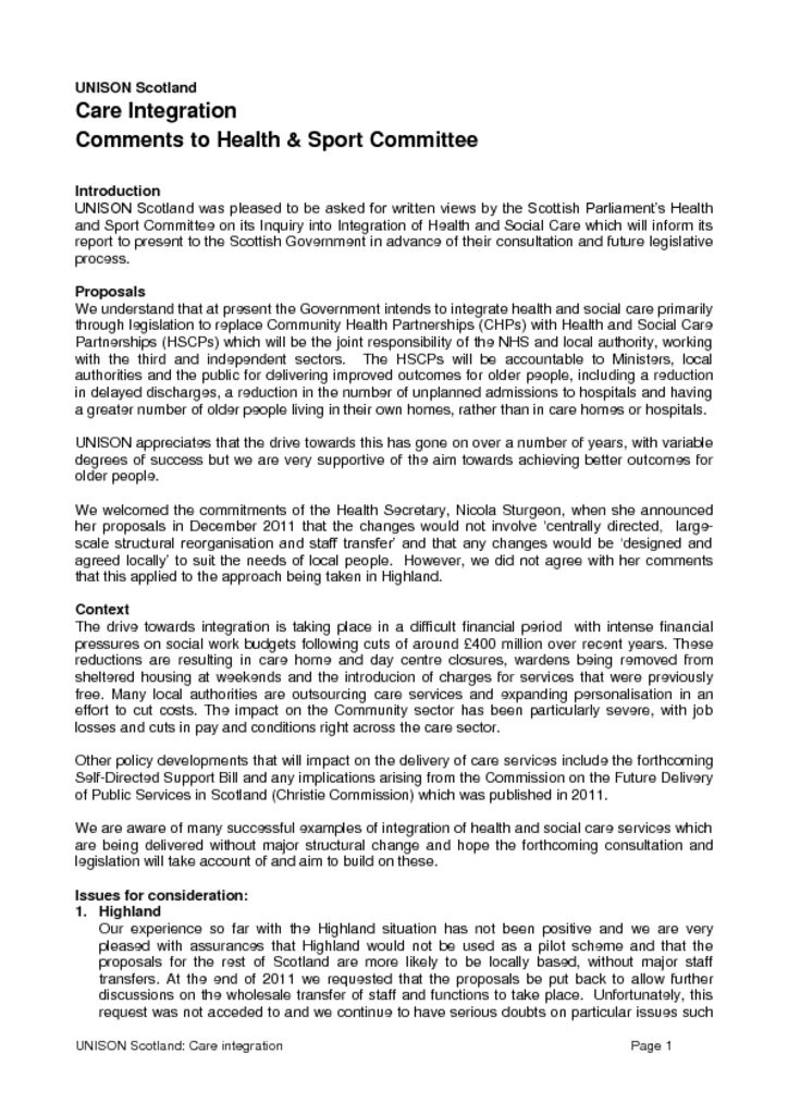 Care Integration Comments to Health & Sport Committee