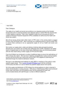 thumbnail of Letter re PPE – 1 April