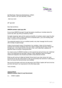 thumbnail of Letter to COSLA re pay ballot result 290421