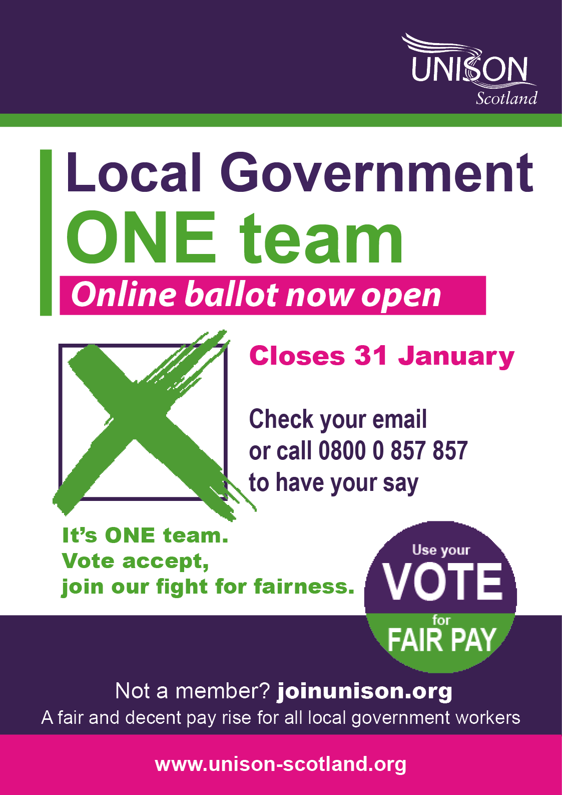 Posters and leaflet for local government pay ballot