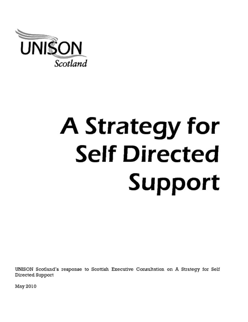 A Strategy for Self Directed Support