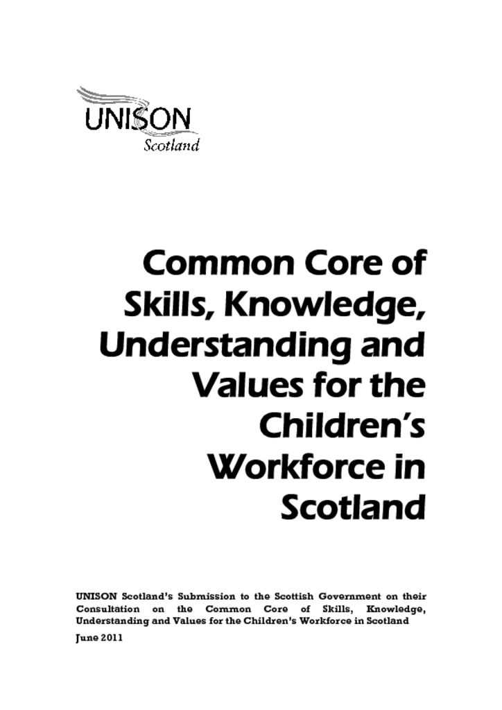 Common Core of Skills, Knowledge, Understanding and Values for the Children's Workforce