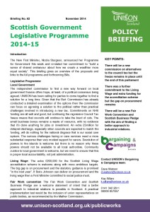 Briefing 62: Policy - Scottish Government Legislative Programme 2014-15