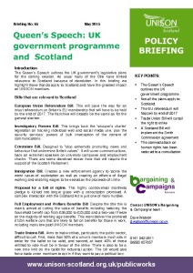 Briefing 65: Policy - Queens's Speech: UK government programme and Scotland
