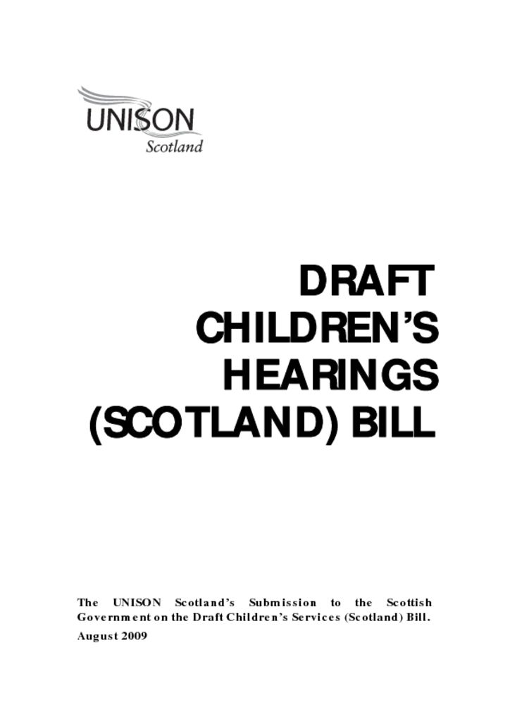 Draft Children's Hearings (Scotland) Bill Response
