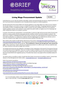 e-briefing: Living Wage Procurement