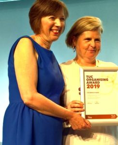 TUC General Secretary Frances O'Grady presents Lyn Marie with the award