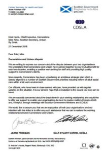 Letter tp Scottish Government and COSLA