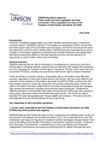 thumbnail of UNISON FOISA Post Leg Scrutiny June2019 For Web
